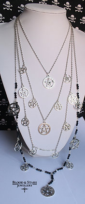 Gothic long multi rosary pentagram charm necklace