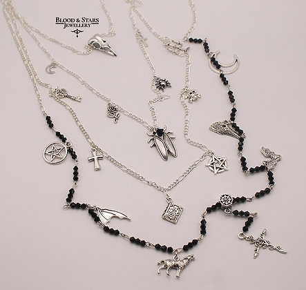 Gothic long multi rosary charm silver crow skull necklace