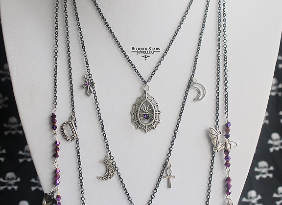 Long multi rosary goth charm necklace (purple)