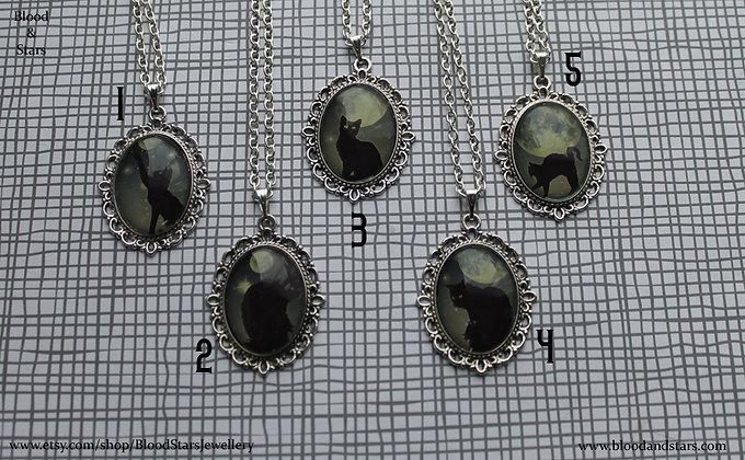 Black Cat Cameo Necklace