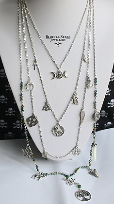 Long multi rosary mystic charm necklace