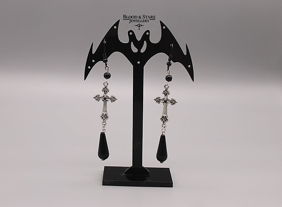 Gothic Cross Teardrop Black Silver Earrings
