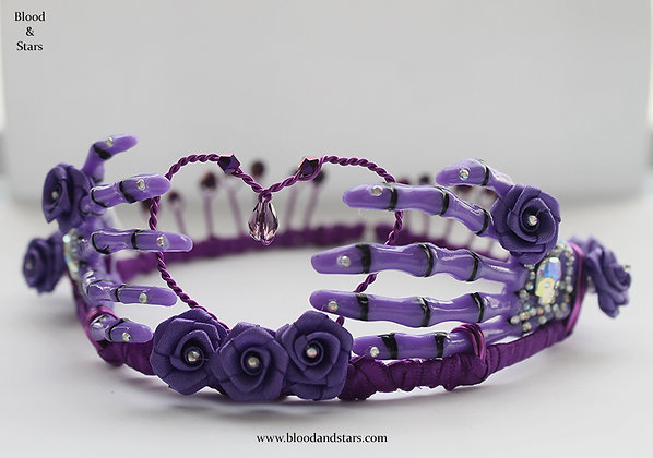 Gothic Purple Rose Skeleton Bone Hand Tiara