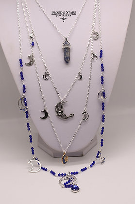 Gothic long multi rosary blue moon necklace