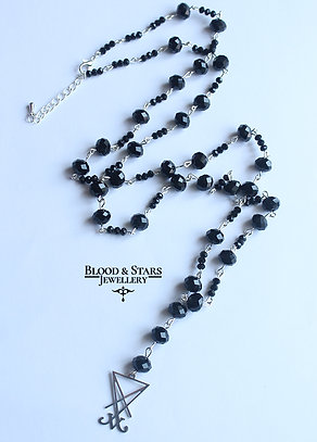 Gothic long Satanic rosary necklace