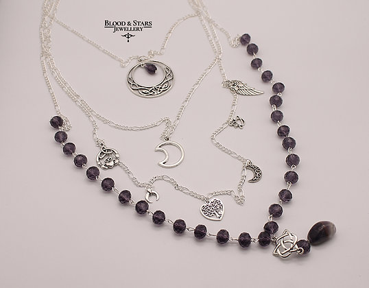 Long multi rosary pagan wicca silver Purple moon necklace
