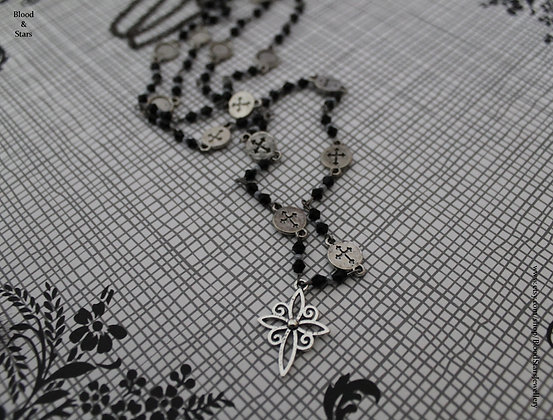 Long Silver Cross Charm Rosary Necklace