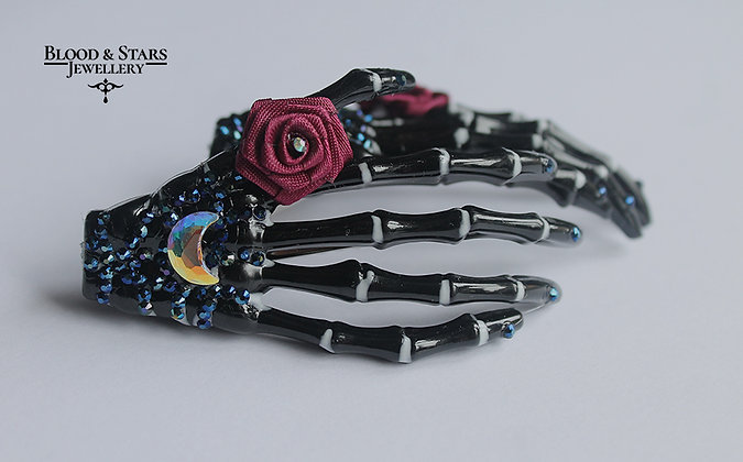Skeleton Hand Swarovski Moon Hair clip Accessory