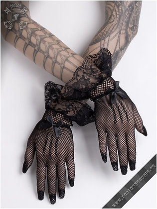 Short Black Mesh Gloves