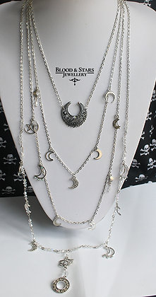Gothic long multi rosary Moon charm necklace