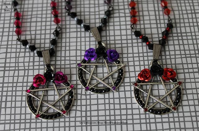Rose Pentagram Charm Necklace