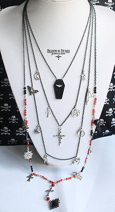 Long multi rosary goth charm necklace (red)