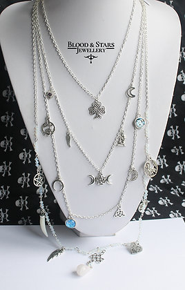 Gothic long multi rosary pagan spiritual necklace