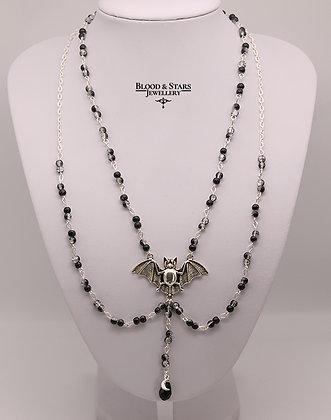Vampire Bat Double Layered Moon Necklace