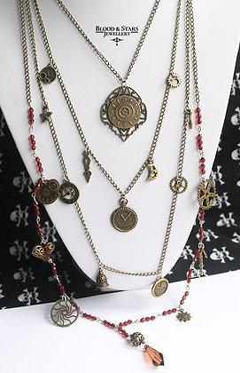 Steampunk long multi rosary clock gear necklace