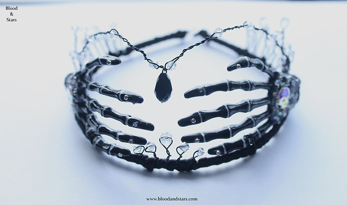 Black Skeleton Bone Hand Tiara