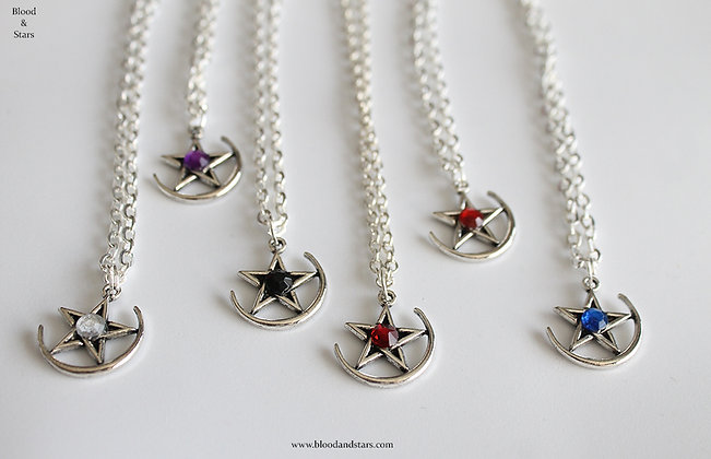 Pentagram Moon Necklace
