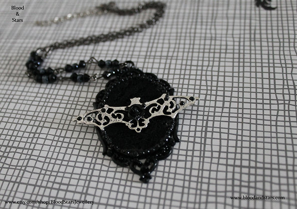 Ornate Black Cameo Necklace