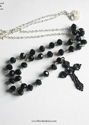 Extra long rosary cross necklace
