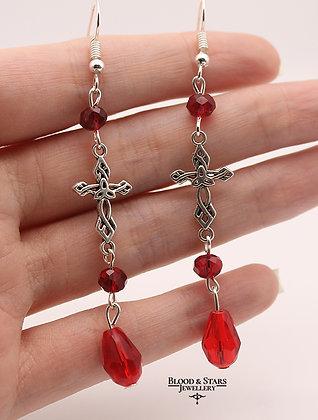 Gothic Cross Teardrop Black Red Earrings