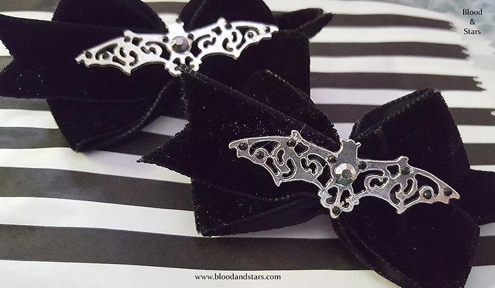 Velvet Bat Bow Hair Clip