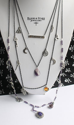 Long multi rosary witch charm necklace