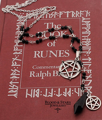 Gothic Pentagram Rosary Necklace