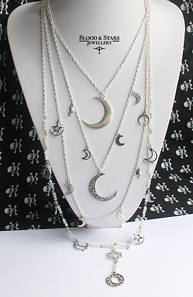 Gothic long multi rosary Moon necklace