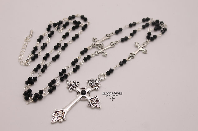 Gothic long rosary large beaded silver cross necklace