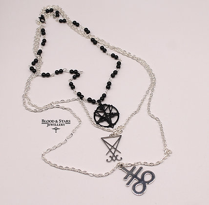 Gothic Satanic Occult Baphomet layered necklace