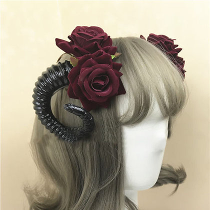 Red Rose Horn Hair Clip