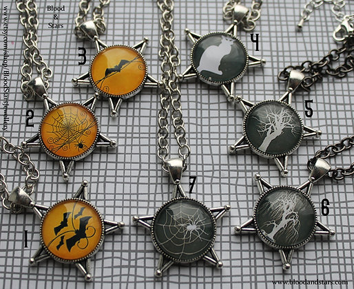Halloween Pentagram Cameo Necklace