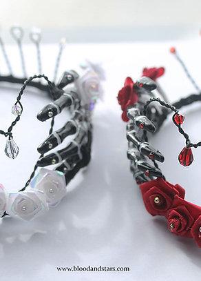 Gothic Rose Skeleton Bone Hand Tiara