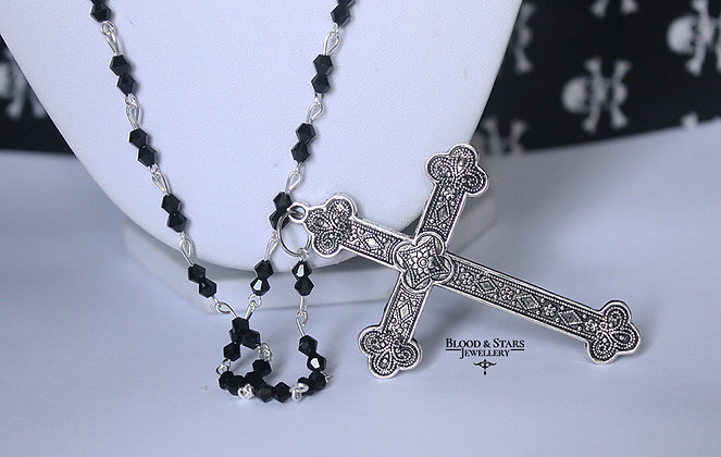 Long Rosary Necklace with large cross