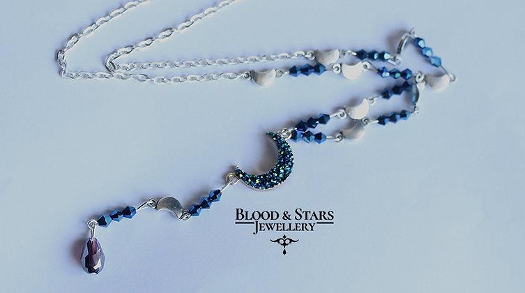 Druzy Moon Rosary Necklace