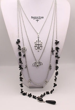 Gothic long multi rosary Chandelier Bat Agate necklace