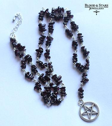 Gothic Gemstone Moon Pentagram Rosary Necklace