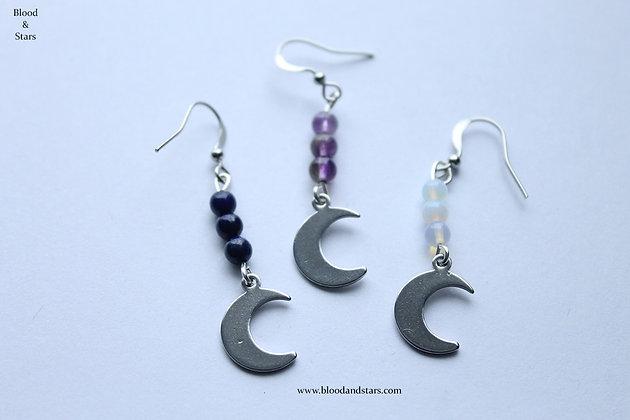 Moon Gemstone Bead Earrings