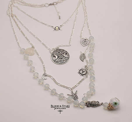 Long multi rosary pagan wicca silver opalite moon necklace