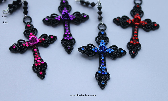 Black Cross Rose Rosary Necklace