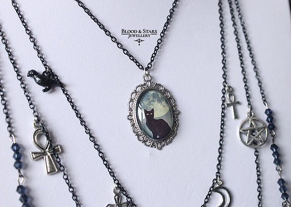 Gothic long multi rosary grey gray blue cat necklace