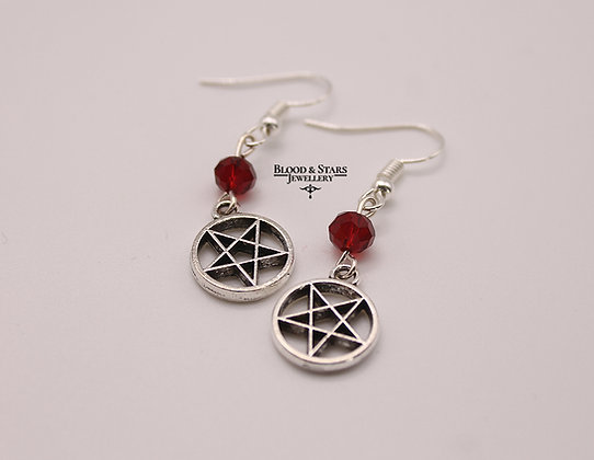 Gothic Reverse Inverted Pentagram Occult Earrings