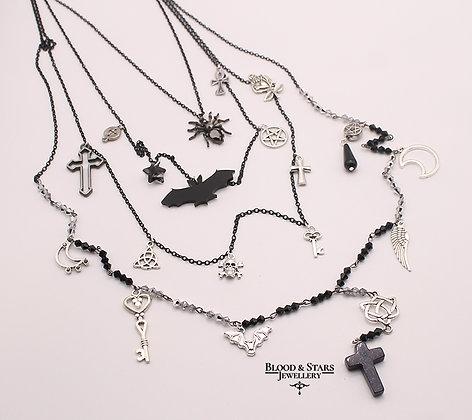 Gothic long multi rosary goth charm black hematite spider necklace