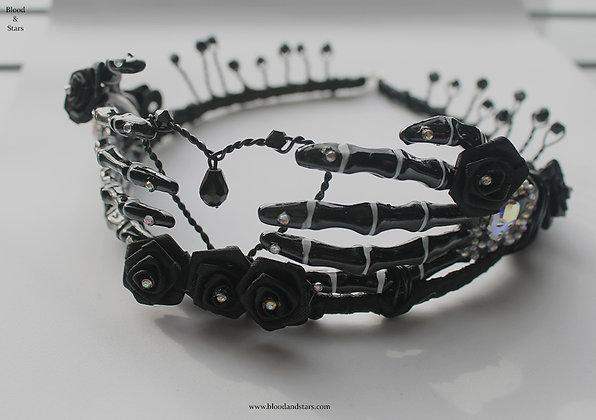 Gothic Black Rose Skeleton Bone Hand Tiara
