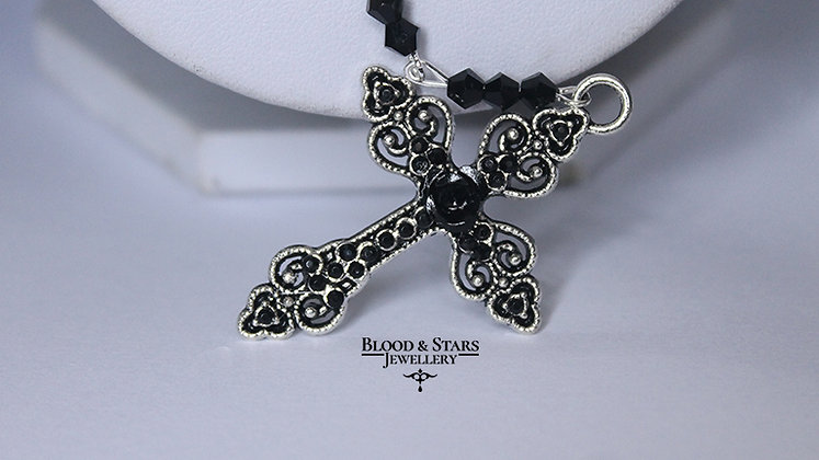Silver Cross Rose Rosary Necklace