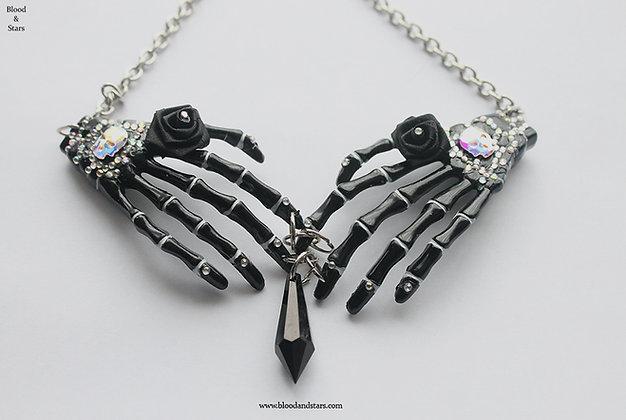 Skeleton Hand Swarovski Skull Necklace
