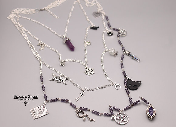 Gothic long multi rosary crystal purple witch charm necklace
