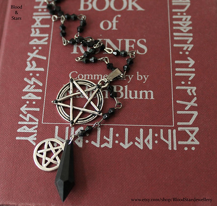Gothic Pentagram Rosary Necklace