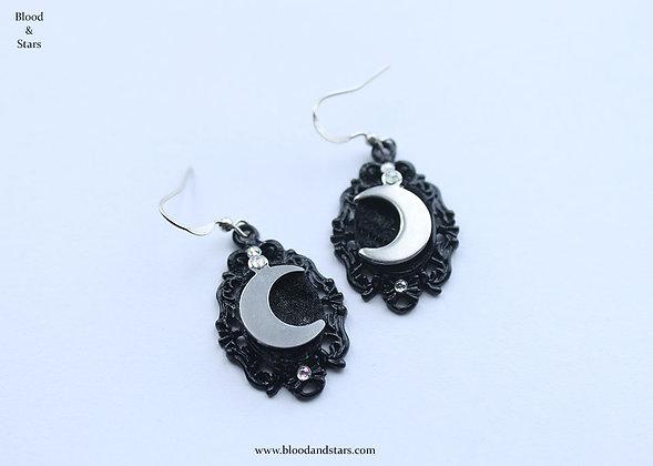 Moon Charm Cameo Earrings