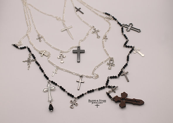 Long multi rosary cross charm necklace